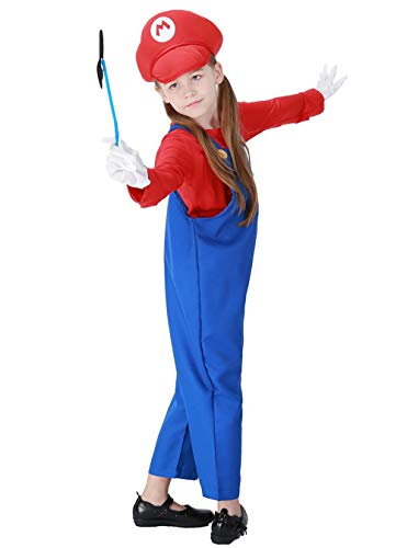 Kids Super Plumber Bros Costume Boys Girls Overalls Role Play Outfit with Moustache & Gloves (Red, -