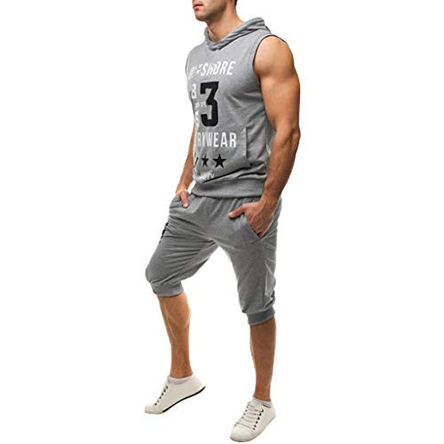 Men's Short Sleeve Jumpsuit Overalls Sport Sets Summer Leisure Fashion Print Sleeveless Hoodie Vest Shorts Gray