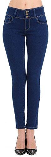Wax Women's Juniors Body Flattering Mid Rise Skinny Jeans Dark Medium 3