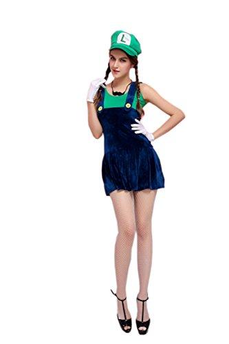 JJ-GOGO Pretty Sexy Plumber Costume (Sexy Green Plumber Costumes)
