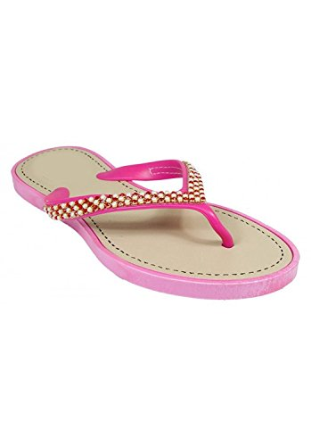 Peach Couture Beaded Pearl Embellished Thong Flat Flip Flop Sandals Pink 11 - Pink Beaded Sandals