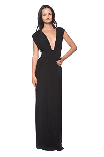 Women's Black Low-Cut Plunge Elegant Event Party Formal Evening Gown Long Dress (Deep Plunge Gown)