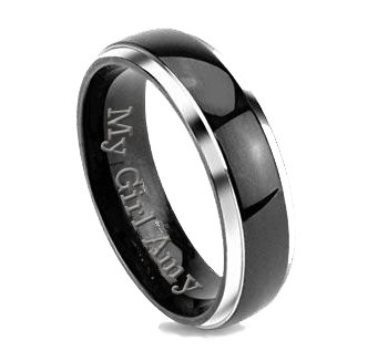 itanium Two Tone Silver & Black Band Ring Custom Engraved Free (Engraved Silver Key Ring)