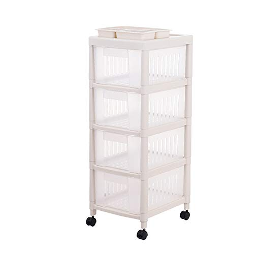842 Three Light - Rolling Trolley,Kitchen Storage Unit with Removable Wheels, Narrow Storage Cart with 4 Drawers, Slide Out Storage Tower, Bathroom Shelf, Pp, 33.842.393.8cm-Light Khaki