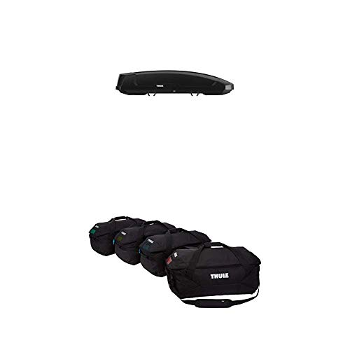 (Thule Force XT Rooftop Cargo Box, X-Large with Thule Gopack Duffel Set (4 Pack), Black)