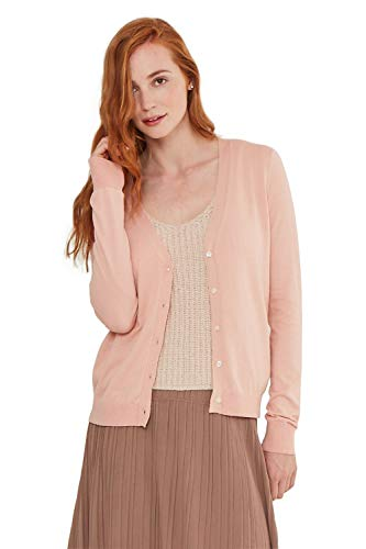 State Cashmere Women's Lightweight Long Sleeve Button Up Basic Sheer Cardigan Nude Pink