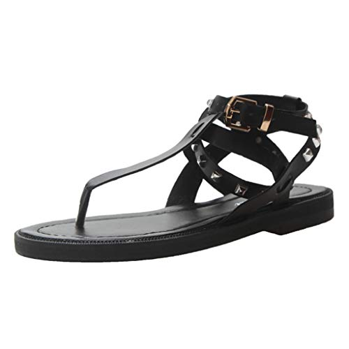 Dainzuy Women Fashion Flat Sandals Ladies Buckle Causal Rivet Beach Belt Pinch Casual Cool Shoes with Ankle Strap Black