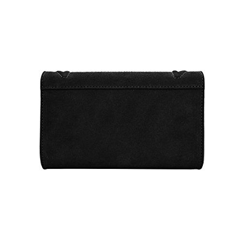 DIONISIA Umhängetasche Handtasche mit Kette und Schließen von Zubehör metallischen dunklem Nickel, gesteppte Glatteleder, Hergestellt in Italien CLUTCH Schwarz