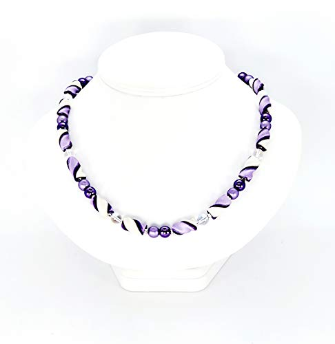 Deep and Soft Purple White Twist Handcrafted Polymer Clay Beads Magnetic Clasp Lightweight Just for You