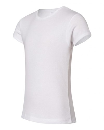 Bella + Canvas - Girls' Baby Rib Short Sleeve Crewneck T-Shirt - White - 6/8