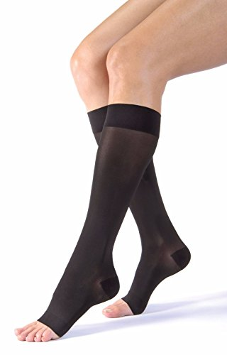 BSN Medical 119732 Jobst Ultra Sheer Compression Stocking, Knee High, 20-30 mmHg, Open Toe, Large, Classic Black ()