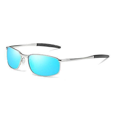 Classique Sunglasses Lunettes Vintage Teintes Polarisée Lunettes blue TL Rétro Soleil Hommes silver UV400 Hommes de Rczdpqdw