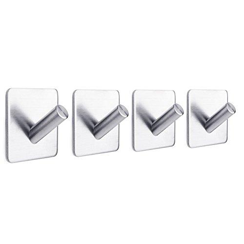 Bathroom Hook Key Rack Stainless Steel Towel Hook 3M Self Adhesive Wall Hook for Kitchen, Bathroom, Bedroom, 4 Packs (Hinge Rack)