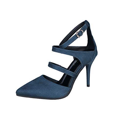 (Ladies Thin Heel Toe Shoes -Closed Pointed Toes Ankle Strap Pumps Stiletto High Heels Sandals Blue)
