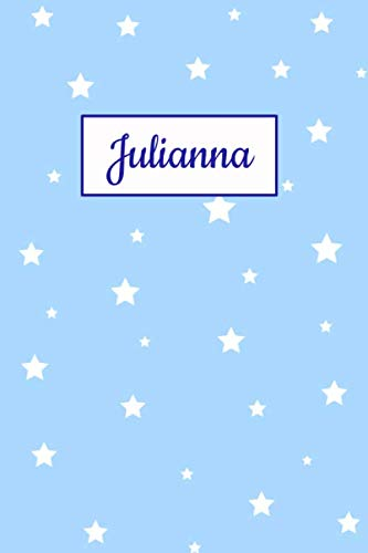 Julianna: Personalized Name Journal. Wide Ruled (Lined) Writing Diary, Composition Book. Baby Blue Star Cover for Girls, Kids and Teens