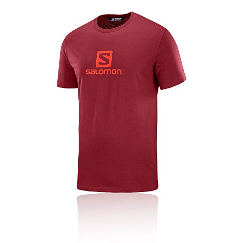 Logo Tee Red Coton Ss Homme Rougebiking T shirt Salomon DWHIY29E