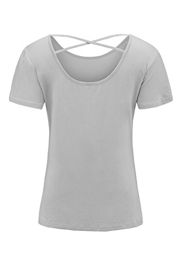 Mazonyi Women's Back Criss Cross Tank Top Short Sleeve Blouse Silky Loose Cotton Tank T Shirt Backless Clubwear Tunic Tops Solid Gray S (Cotton Silky Blouse)