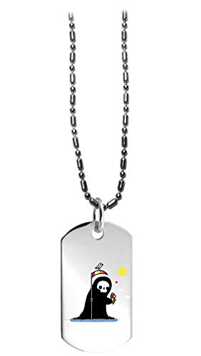 Randy Otter Happy Death Grim Reaper w/Ice Cream - 3D Color Printed Military Dog Tag, Luggage Tag Pendant Metal Chain Necklace -