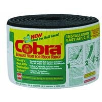 (GAF Materials 2005 Cobra Shingle Over Coil Ridge Vent, 10-1/2 in W X 20 Ft Roll L, High-Impact Polymer, 20' x 10.5