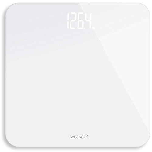 Digital Body Weight Bathroom Scale from Greater Goods, Clean White Glass with Backlit Shine Through Display and Highly Accurate Weight (Through Weight)