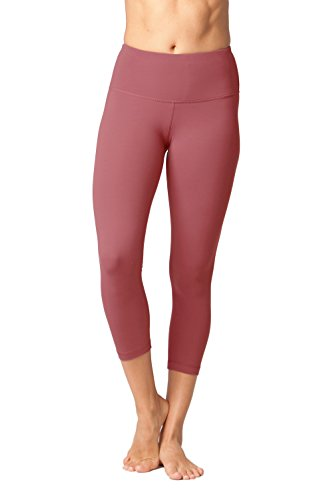 Yogalicious High Waist Ultra Soft Lightweight Capris - High Rise Yoga Pants - Rose Clay - XL