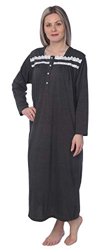 Women Jersey Long Nightgown Long Sleeve Elegant Loose Dress NG01_Y18 Charcoal L (Sleeve Extra Long Jersey Long)