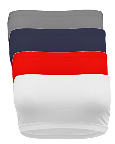 TL Women's 4 Pack One Size Strapless Seamless Active Base Layer Bandeau Tube Top WH_RED_NAV_Char -