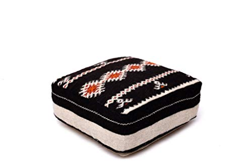 Moroccan Kilim Floor Pillow Pouf Cover, Berber Handmade, Bohemian Ottoman foot stool, indoor/outdoor, refashioned from a vintage rug, handwoven in Morocco's High Atlas Mountains, 24