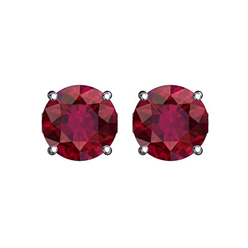 Belinda Jewelz 925 Sterling Silver Solitaire 5 mm Round July Birthstone Earrings Classic Fine Prong CZ Gemstone Timeless Jewelry Accessory Stud Earring, 0.9 Carat Created Red Ruby