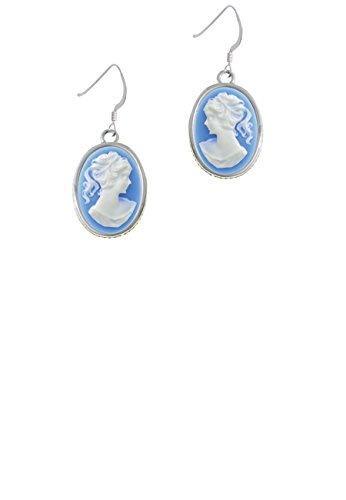 Small Blue Oval Cameo - French Earrings - French Cameo