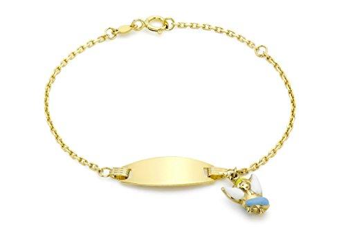 9ct or jaune pour enfant en émail-Ange Bracelet d'identification 14cm/5,5'
