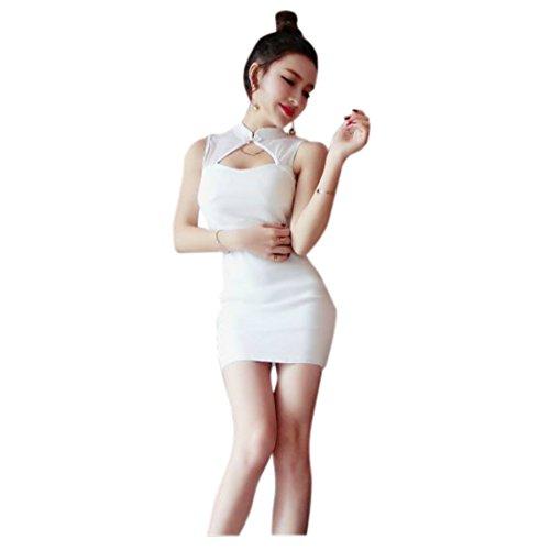 のどクレジット間接的『ヴォーグ』VOGUE (0039) ホワイト 胸元空き タイト キャバドレス セクシー ミニドレス 白 M