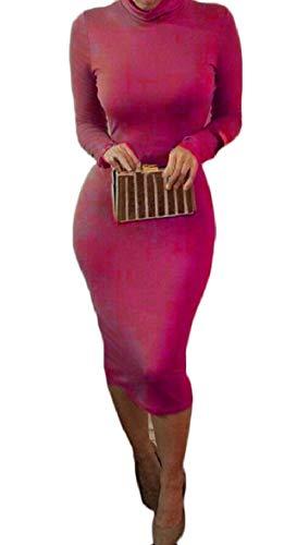 Sodossny-au Des Femmes De Couleur Unie Col Roulé À Manches Longues Robe Moulante Midi Crayon 1
