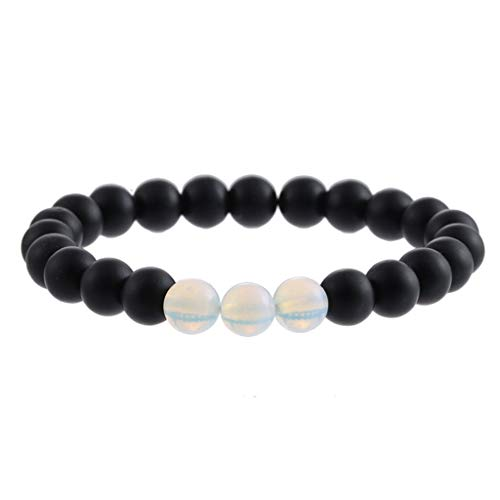 Natural Stone Agate Bracelet Men Women 8mm Lava Rock Chakra Beads Elastic Bracelet ()