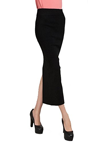 KUFV Women's Knitting Wool Stretch Split Bodycon Pencil Medium-long Skirt (Black)