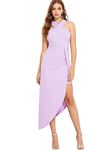 MAKEMECHIC Women's Sleeveless Split Ruched Halter Party Cocktail Long Dress Lavender ()