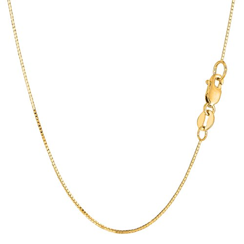 14k Yellow Gold Classic Mirror Box Chain Necklace, 0.7mm, 24