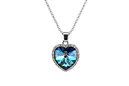 Titanic Heart of the Ocean Necklace with Clear Crystal Pendant Creative Gift Idea (Titanic Heart)