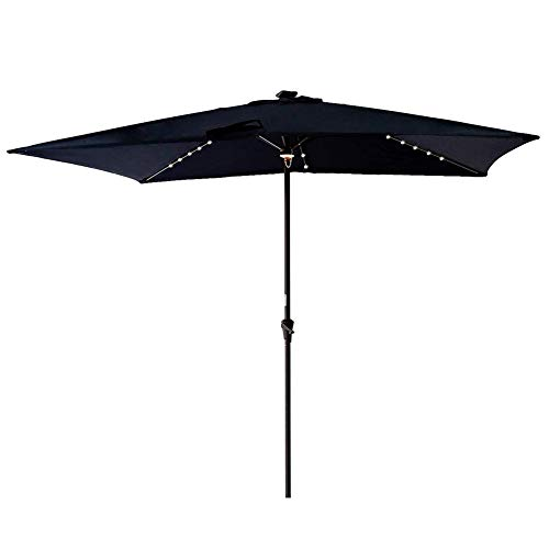 FLAME&SHADE Rectangular Patio Umbrella LED Lights Crank Lift 6 Foot 6 inch x 10 Foot Navy Blue