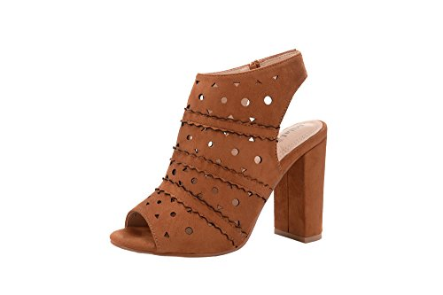 Bootie Platform Lady Chunky Cut 7A Erin Camel Stacked Mila Laser Peep Toe Women's Heel 7qzUU