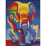 DMC Strands Counted Cross Stitch Kits ,Elephants in Rainbow 14ct 38*47cm, 150*200 Aida Cross Stitch Kit