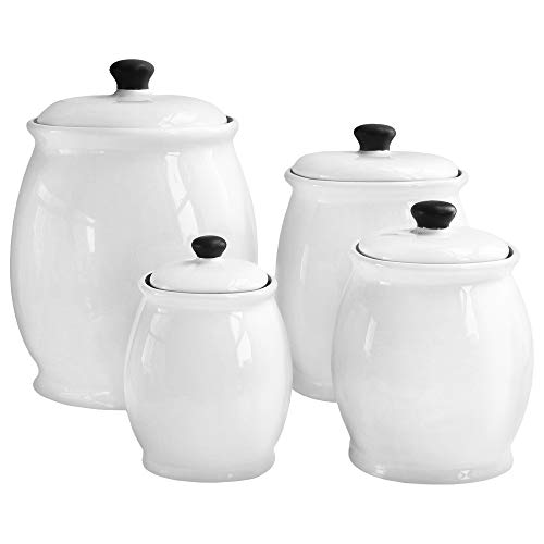 (American Atelier 4 Piece Canister Set, White)