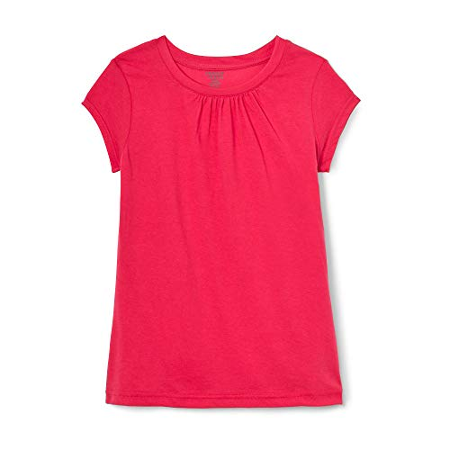 French Toast Toddler Girls Short Sleeve Crewneck Tee, fuchsia burst, 2T - Girls Pink Fashion Jersey