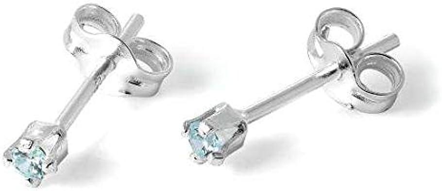 Pendientes únicos de plata de ley maciza y topacio azul redondo de 2 mm con cristal de circonita cúbica de topacio azul, regalo para mujeres y hombres