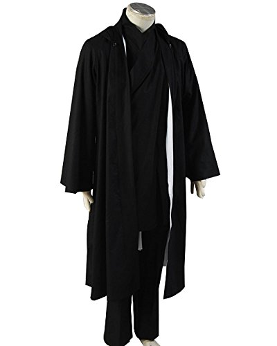 Tron: Legacy Kevin Flynn Costume Cosplay Robe Set (Male:Small, Black)