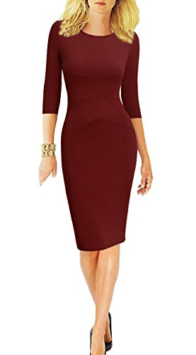 REPHYLLIS Women 3/4 Sleeve Striped Wear to Work Business Cocktail Pencil Dress (Small, Burgundy)