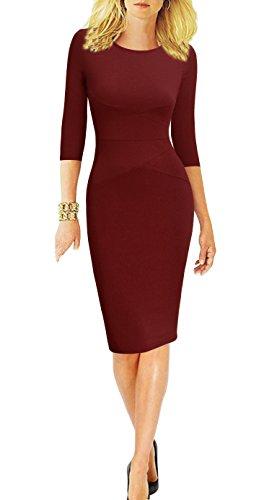 REPHYLLIS Women 3/4 Sleeve Striped Wear to Work Business Cocktail Pencil Dress (Medium, Burgundy)