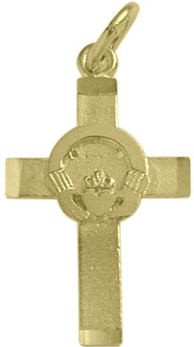 Small 14 Karat Yellow Gold Religious Claddagh Cross with 20 Inch (Yellow Gold Religious Claddagh Cross)