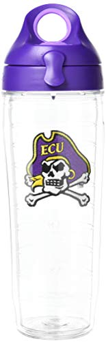 Tervis 1230883 East Carolina Pirates Cross Bones Logo Insulated Tumbler with Emblem and Purple Lid, 24oz Water Bottle, Clear