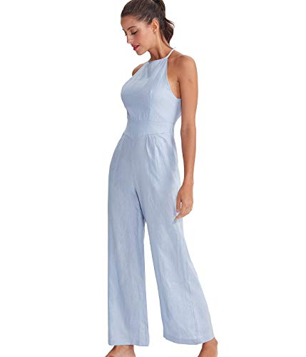 (Womens Linen Wide Leg Jumpsuit Backless Sleeveless Romper Summer Casual Long Pants Suit Set (Blue, Small))